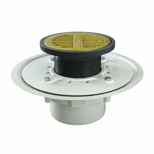 """3"""" Over Pipe Fit Heavy Duty Adjustable Floor Drain with Antique Brass Strainer"""