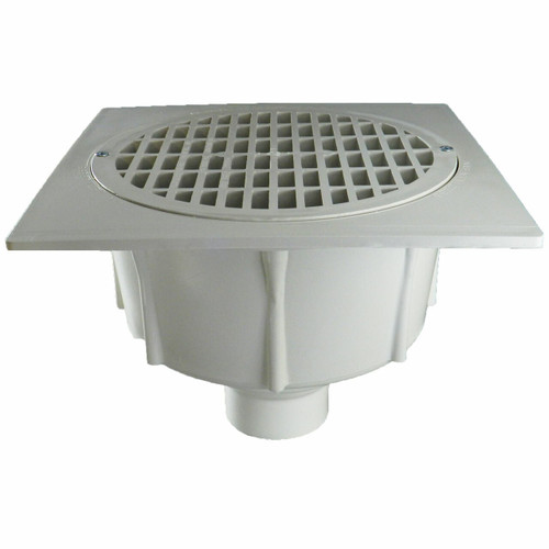 """2"""" Floor Sink with Secondary Strainer with Full Plastic Grate"""