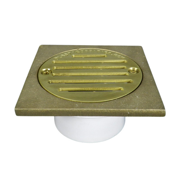 """2""""x3"""" Pipe Fit General Purpose Drain with Square Ring with Cast Brass Finish Strainer"""