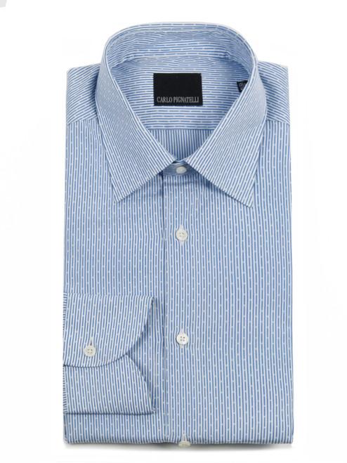 CARLO PIGNATELLI Patterned Blue Dress Shirt