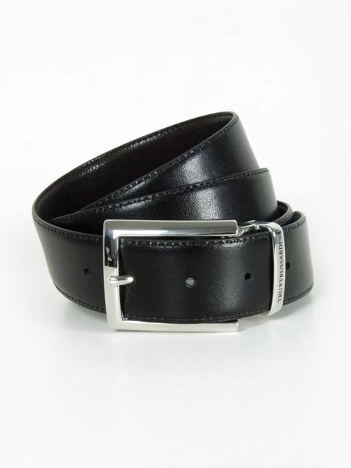 TRUSSARDI  Chrome Buckle Reversible Leather Belt