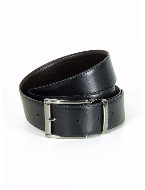 TRUSSARDI  Gunmetal Buckle Reversible Leather Belt
