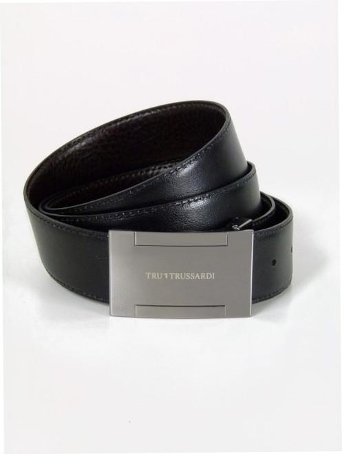 TRUSSARDI  Gunmetal Buckle  Leather Belt (105)