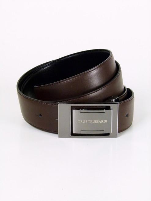 TRUSSARDI  Gunmetal Buckle  Leather Belt (107)