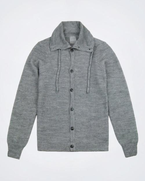 PORFIRIO RUBIROSA Button Front Grey Knit