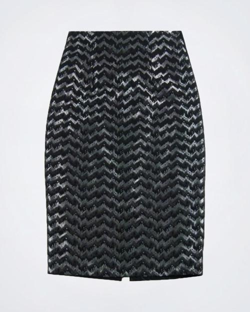 SANDRO FERRONEl Black & Grey Pencil Skirt