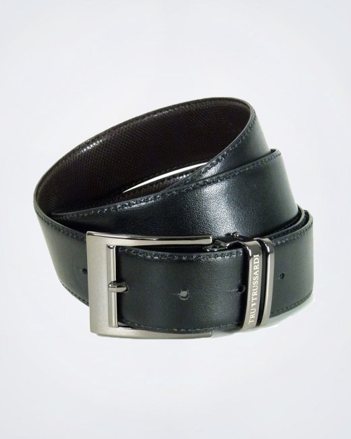 TRUSSARDI  Gunmetal Buckle  Leather Belt (103)