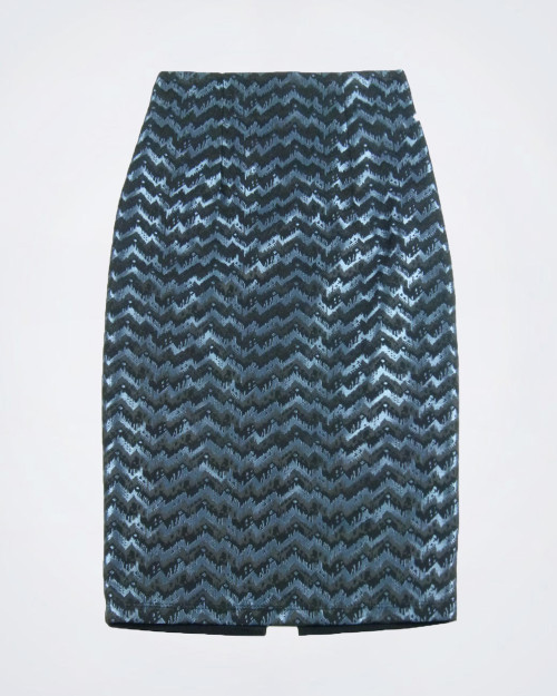 SANDRO FERRONEl Blue & Black Pencil Skirt