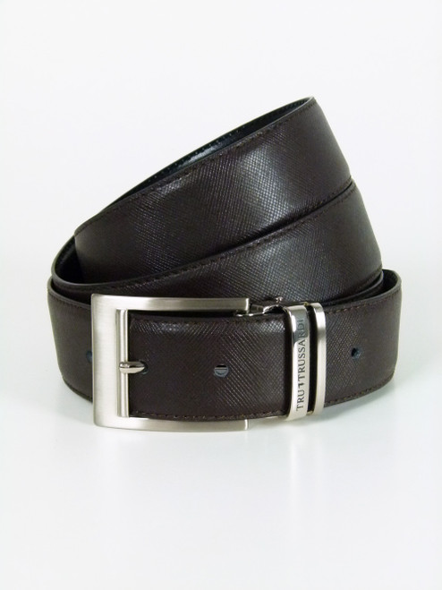 TRUSSARDI  Silver Buckle  Leather Belt (103)