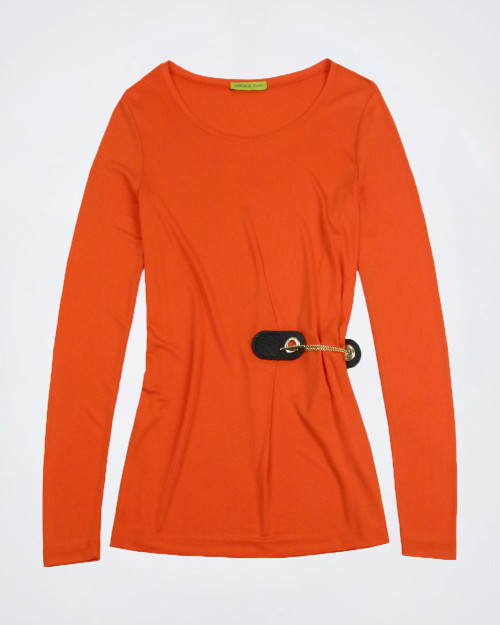 VERSACE JEANS Orange Round Neck Top