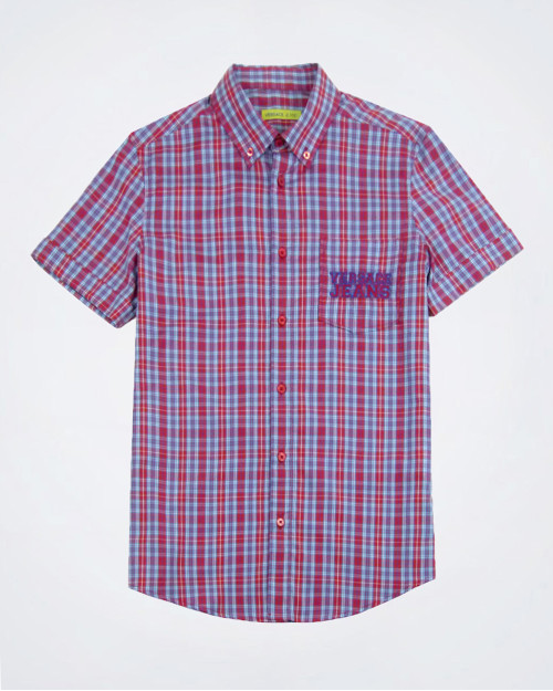 VERSACE JEANS Short Sleeved Check Shirt