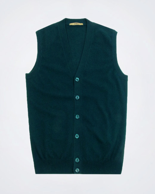 UNGARO Pure Cashmere Green Knitted Vest