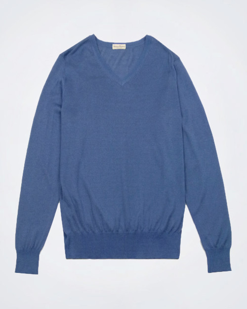 CASHMERE COMPANY Silk & Cashmere Blue Knit