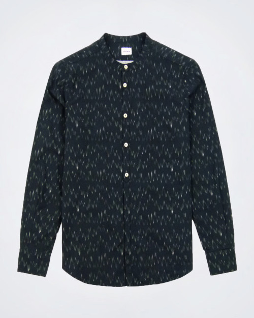 OFFICINA 36 Round Collar Black Shirt