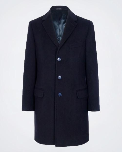 NOVUS Fleece Wool Blend  Men's Navy Blue Coat