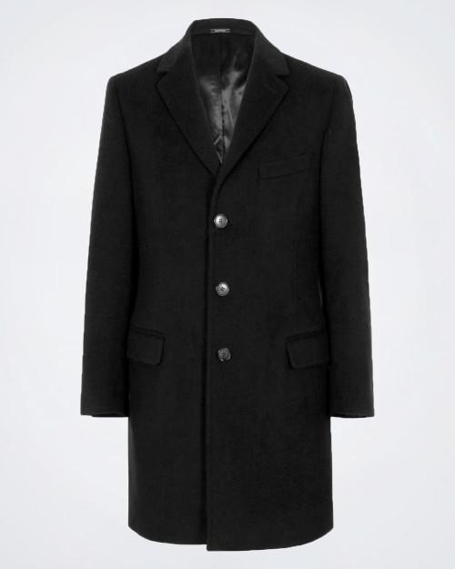 NOVUS Fleece Wool Blend Men's Black Coat