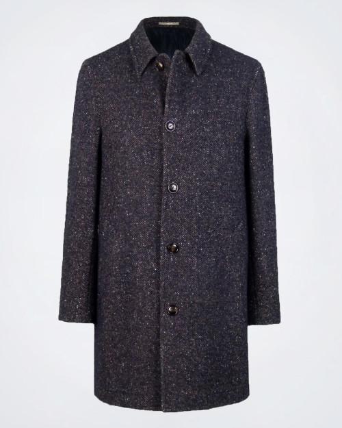PAOLONI Herringbone Wool Blend Coat