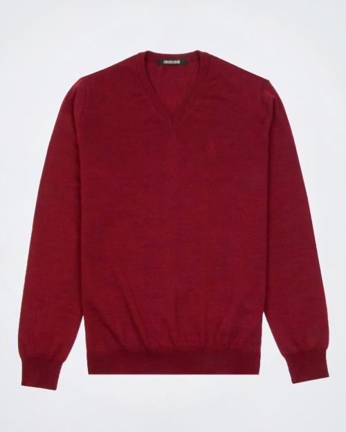 ROBERTO CAVALLI Pure Wool Maroon Knit