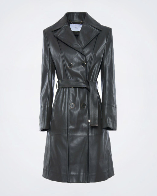 NENETTE Ladies Eco Leather Green Trench