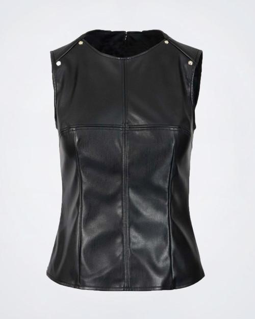 NENETTE Eco Leather Sleeveless Black Top