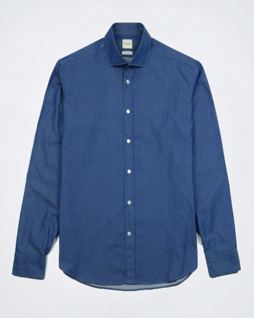 CAMICISSIMA Slim Fit Micro Dot Cotton Shirt