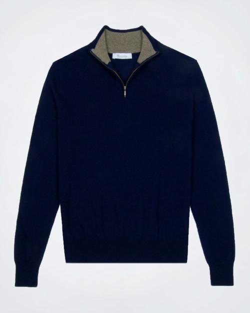 CAMICISSIMA Men's Half Zip Navy Blue Knit