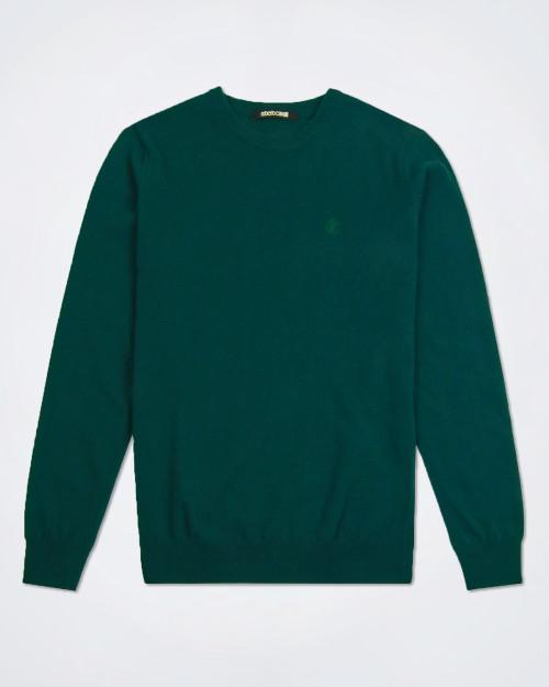 ROBERTO CAVALLI Green Wool & Cashmere Knit