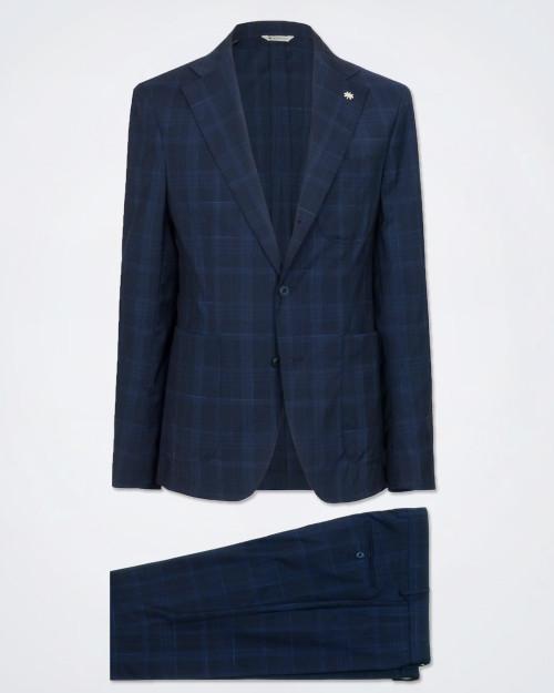 MANUEL RITZ Navy Blue Pure Wool Suit