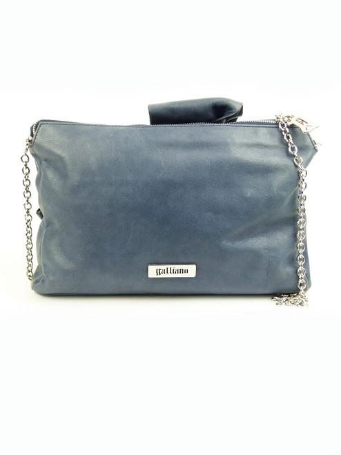 GALLIANO Antique Blue Leather Shoulder Bag