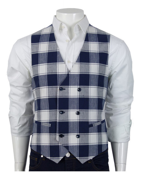 PAOLONI Double Breasted Check Vest