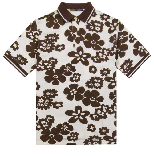 UNGARO Brown & White Polo Shirt