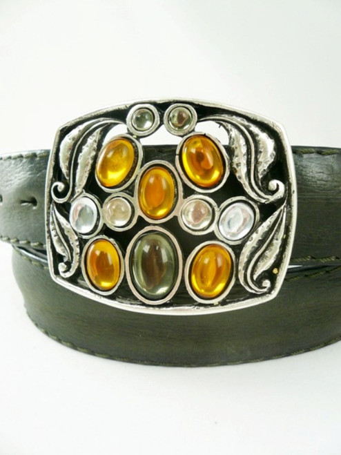 Post & Co Green Leather Belt