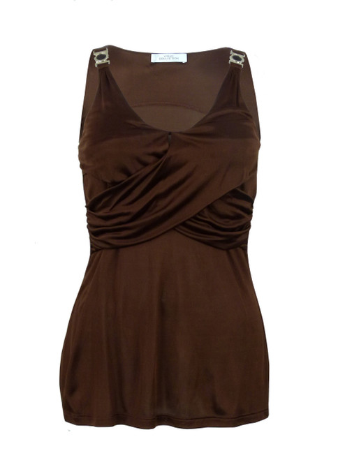 VERSACE COLLECTION Brown Crossover Top