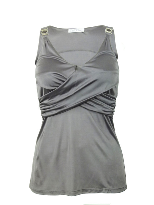 VERSACE COLLECTION Silver Crossover Top