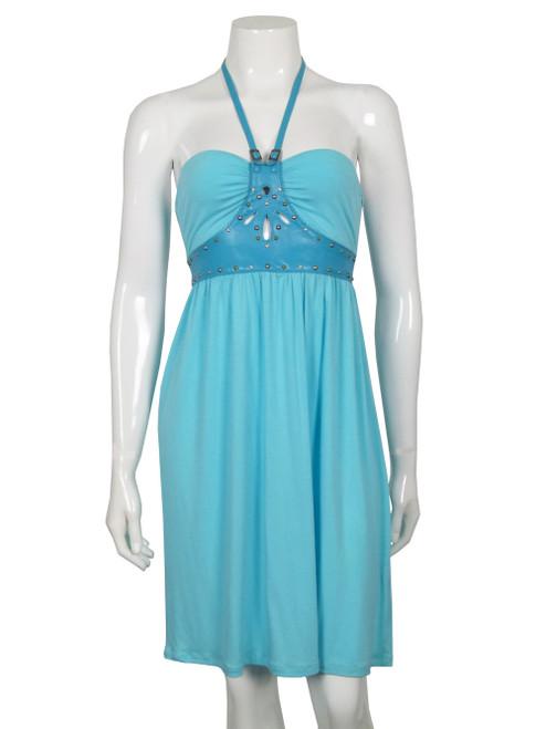 REPLAY Halter Neck Sky Blue Dress