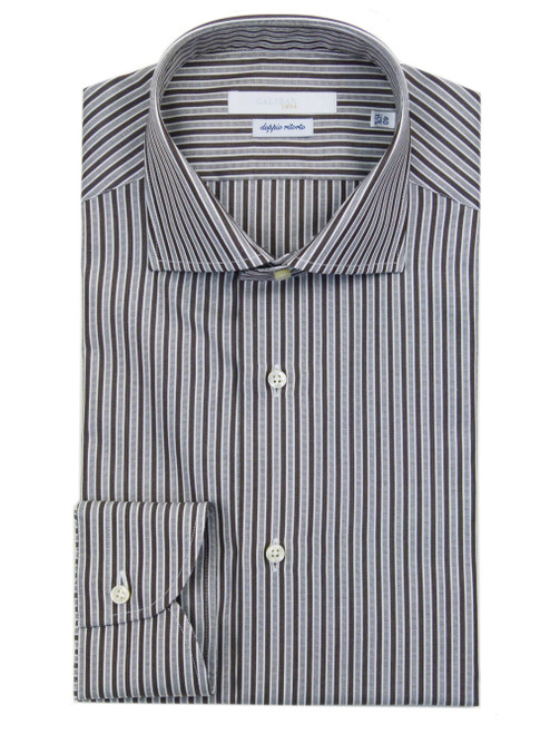 CALIBAN Brown Striped Dress Shirt