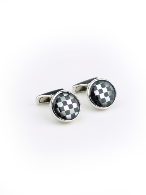 PAL ZILERI Check Silver Cuff Links