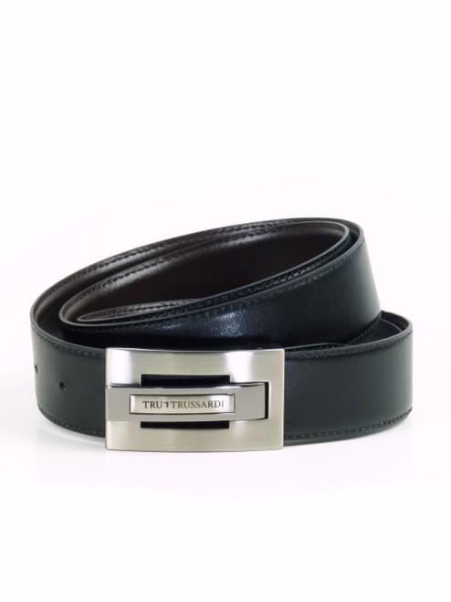 TRUSSARDI Black and Brown Leather Belt