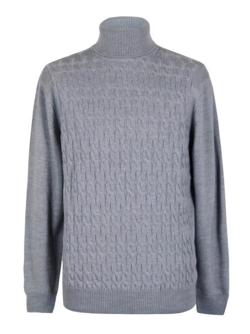 ANDREA FENZI Men's Grey Turtle Neck Knit