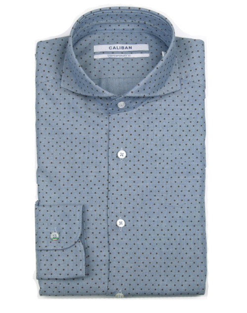 CALIBAN Spotted Pattern Casual Shirt
