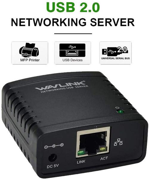 WAVLINK USB 2.0 Networking Print Server Ethernet Print Server Adapter LPR 1-Port