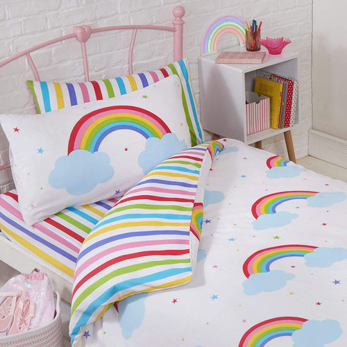 Price Right Home Rainbow Sky Junior Toddler Duvet Cover and Pillowcase Set