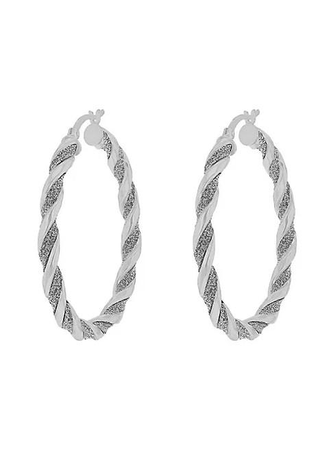 Tuscany Silver Women's Sterling Silver Stardust Twisted Creole Hoop Earrings - 40mm