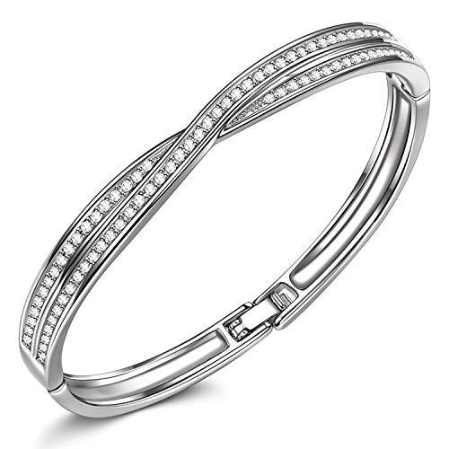 Susan Y Bracelets Gifts for Her, Waltz of Love Series Cross Bangles Bracelets Ladies Bracelets Women Jewellery Crystals