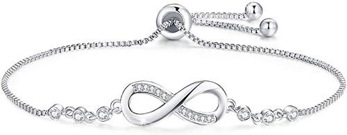 Gearific Double Heart 925 Sterling Silver White Gold Plated Bracelet Cubic Zirconia Paved Adjustable Bracelet