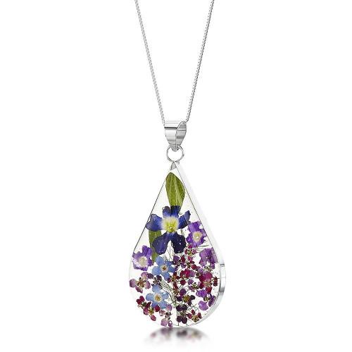 Shrieking Violet 925 Sterling Silver Teardrop Real Flower Pendant