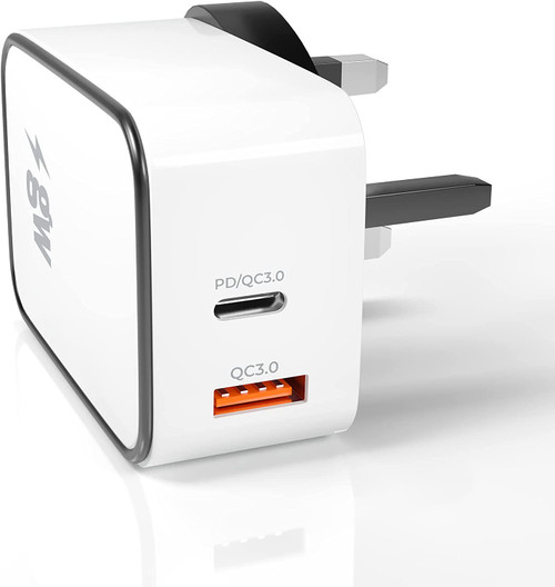 gw-Power PD Fast Wall Charger. 18W Dual USB (PD+QC3.0) - USB C & USB A - Compact Plug Design for Home, Work & Travel