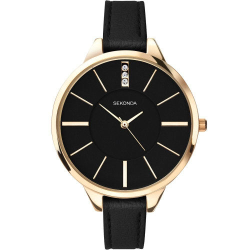 Sekonda Ladies Editions Watch with Black Dial and Black Strap 2714