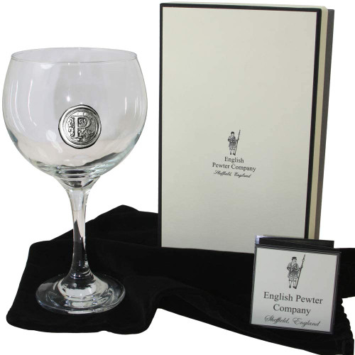 English Pewter Company Personalised Gin Glass with Initial P