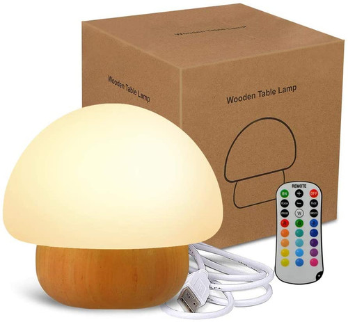 LED Night Light - USB Night Lamp with Remote Control, 16 Colours Changing Bedside Table Lamp for Kids  - Mushroom
